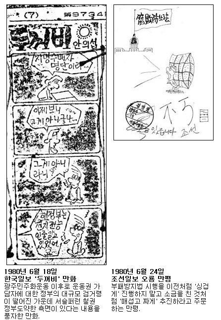 1980년 계엄하 언론검열에 삭제된 시사만화·만평 50선