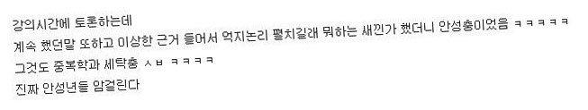 """""""4시 15분 J관 3층 눈화장 진하게 한 돼지년 봐라"""""""