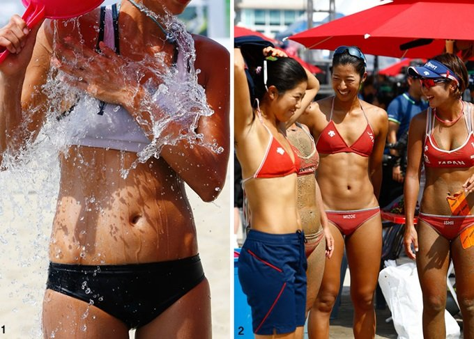화끈 미녀들의 돌진 후끈 달아오른 해변