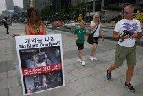 """'개 식용 반대' 1인 시위, """"보신탕은 이제 그만!"""""""