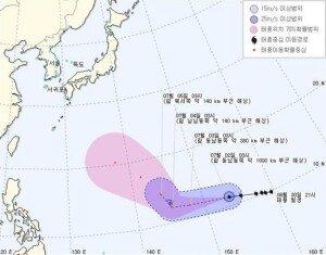 태풍 '찬홈' 북상, 오는 9일부터 태풍 영향권 전망