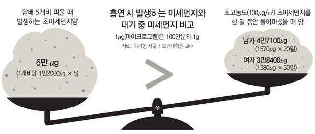 흡연땐 초미세먼지 '나쁨'의 최대 83배 흡입