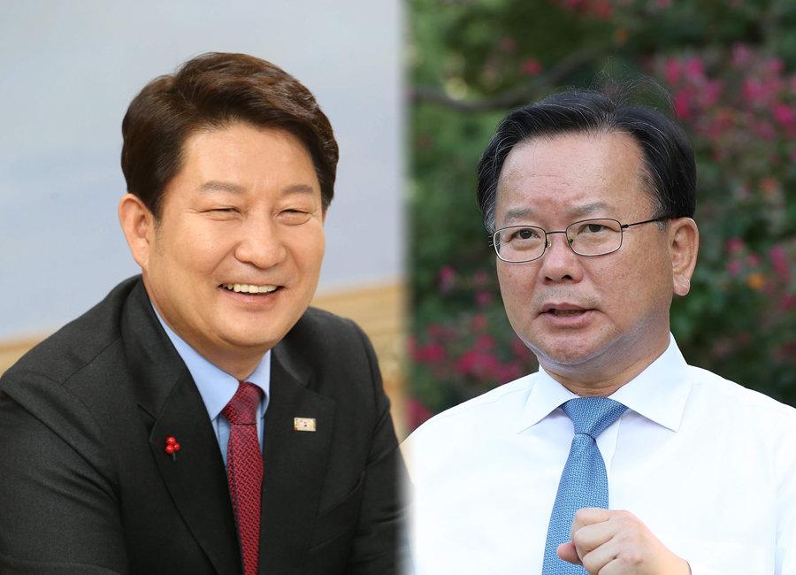 권영진 대구시장(왼쪽)과  김부겸 행정안전부 장관.[동아DB, 김재명 동아일보 기자]