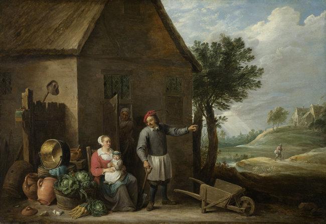 17세기 벨기에 화가 데이비드 테니르스가 그린 농노 가족 그림.