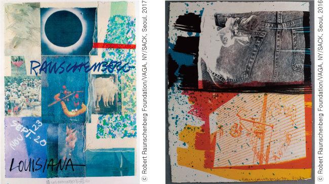 Robert Rauschenberg, 'Louisiana', 1980, Robert Rauschenberg, 'The Fest', 1991~1992(왼쪽부터)