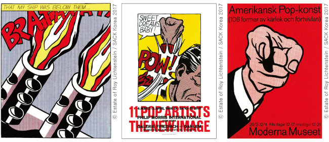 Roy Lichtenstein, 'As I Opened Fire Ⅱ', 1962, Roy Lichtenstein, 'Sweet Dreams Baby', 1965, Roy Lichtenstein, 'Femme au Chapeau, 1997(왼쪽부터)