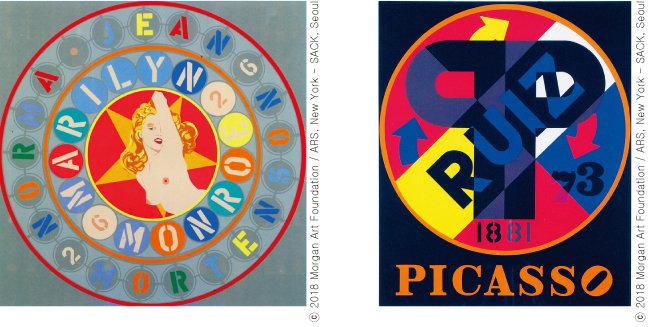 Robert Indiana, 'Marilyn-Norma Jean', 1951, Robert Indiana, 'Pablo Ruiz Picasso', 1973(왼쪽부터)
