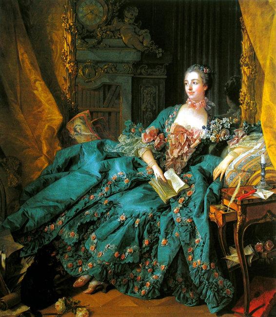 프랑수아 부셰가 그린 퐁파두르의 초상화. 프랑스 왕 루이 15세의 총애를 받은 퐁파두르는 역사상 가장 이름난 정부였다.