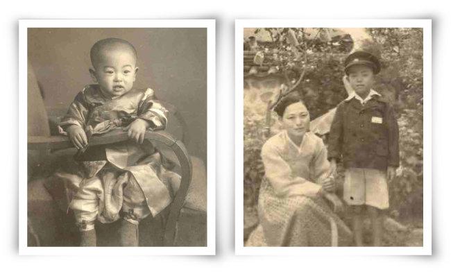 나는 경기 양주군 노해면 창동리에서 태어나 자랐다. 왼쪽은 돌 사진, 오른쪽은 창동초교 1학년 때 어머니와 집에서 찍은 사진이다.