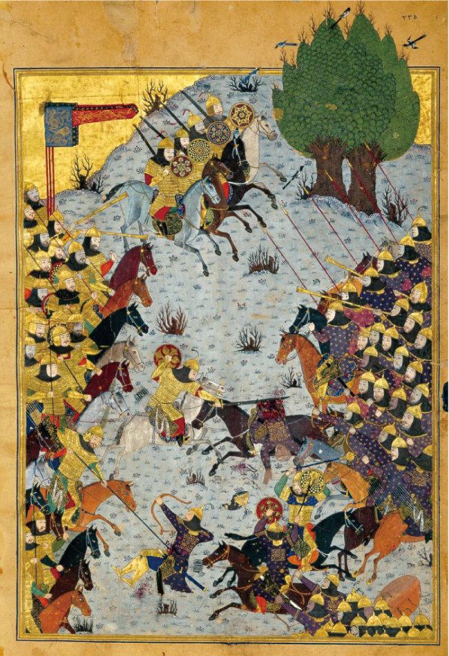 이희수, 다르유시 아크바르자데가 공저한 '쿠쉬나메'에 실린 왕 즉위식 삽화. 이란 골레스탄 왕궁박물관에 소장된 것이다. [사진제공 청아출판사]