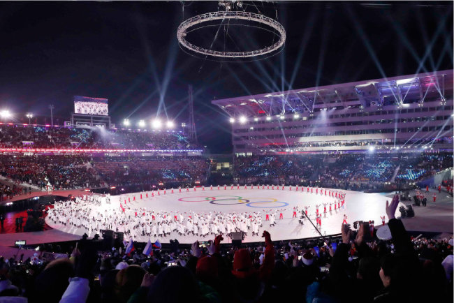 평창올림픽프라자에서 2월 9일 열린 개막식 광경.