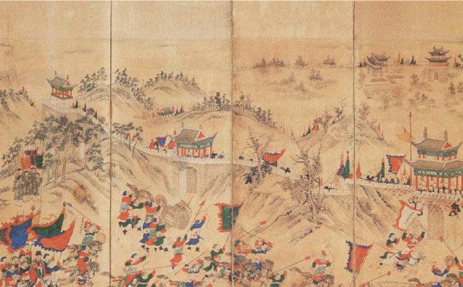 임진왜란 당시 일본에 함락된 평양성을 명나라와 조선 연합군이 탈환하는 내용을 병풍에 그린 '평양성탈환도'. 작자 연대 미상. [출처 우리역사넷]