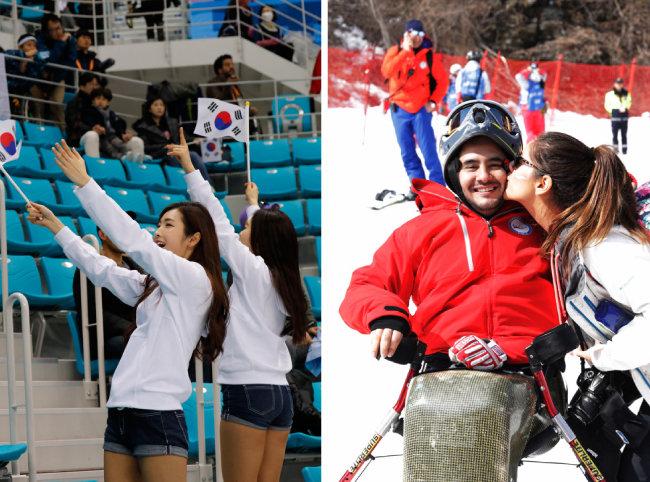 한국 선수들의 선전을 기원하는 열띤 응원전.(왼쪽) 완주한 선수에게 입맞춤하는 여성.