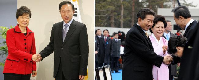 2007년 12월 29일 대통령 당선자 집무실에서 박근혜 당시 한나라당 대표와, 2008년 2월 25일 열린 제17대 대통령 취임식에서 노무현 이임대통령 내외와 인사하는 이명박 전 대통령. 세 대통령 모두 검찰 포토라인 앞에 서는 비극을 맞았다.