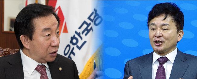 김성태 자유한국당 원내대표.(왼쪽) 원희룡 제주도지사. [조영철 기자, 뉴시스]