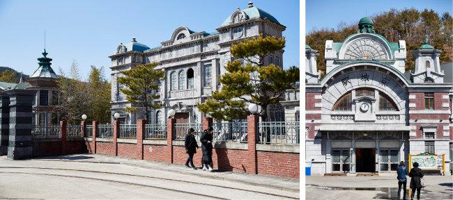 합천영상테마파크 내 일제강점기 거리. 조선총독부(왼쪽)와 경성역 앞을 방문객들이 거닐고 있다. [홍중식 기자]