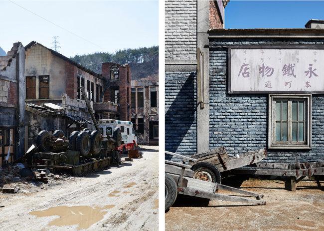 영화 '포화 속으로' 등을 촬영한 '전쟁터 거리'.(왼쪽) 이제는 보기 힘든 철물점 간판 앞으로 낡은 손수레들이 놓여 있다. [홍중식 기자]