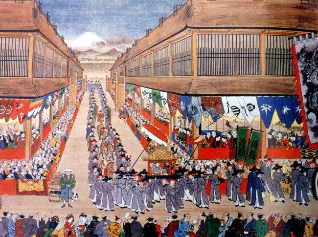 1748년 조선통신사의 에도 시내 행렬도. 일본 고베시립박물관 소장.