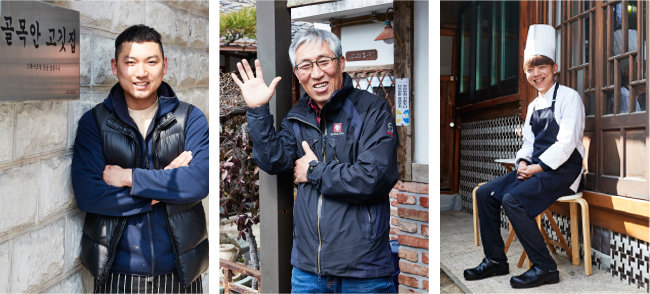 김종효 '골목안 고깃집' 사장(맨 왼쪽)과 박건호 '리노' 사장은 도시재생에 기대를 걸고  순천 원도심에 출사표를 던진  청년 사업자다. 가운데는 직접 한옥 되살리기에 나서며 주민 주도 도시재생을 이끌고 있는 김정진 순천도시재생주민협의회 회장. [홍중식 기자]