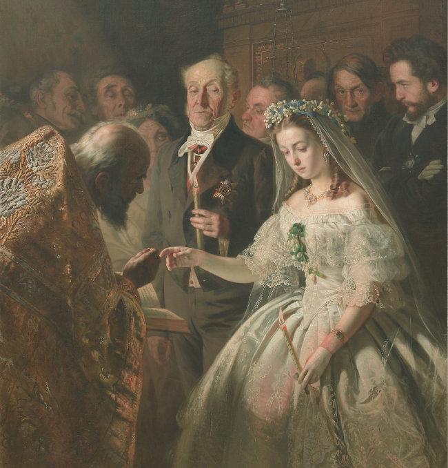 바실리 페로프, '불평등한 결혼(The Unequal Marriage)', 1862, 트레티야코프 미술관 소장