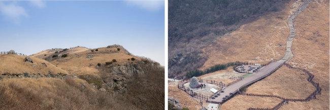 임도에서 바라본 간월산.(왼쪽) 억새가 가득 펼쳐진 간월재