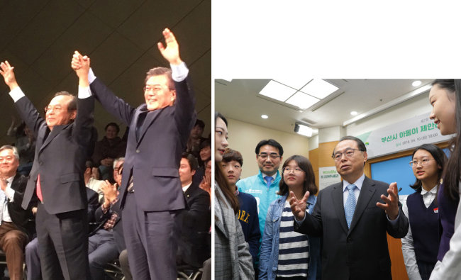 오거돈 전 장관은 지난 대선에서 문재인 후보 부산시 상임선대위원장으로 활동했다(왼쪽). 부산 지역 청소년들과 이야기를 나누는 오거돈 전 장관. [박해윤 기자]