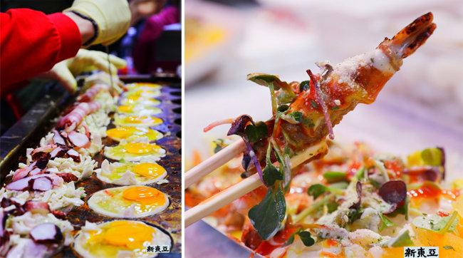 철판 틀에 줄지은 달걀들 인천 송현시장.(왼쪽) 일류 레스토랑급 요리 인천 송현시장.