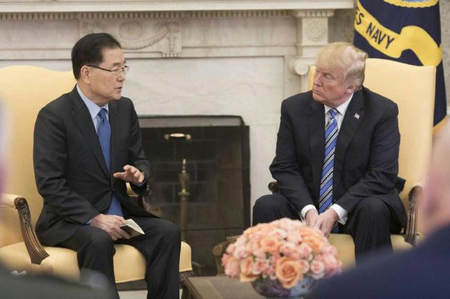 정의용 국가안보실장(왼쪽)이 3월 8일 미국 백악관을 방문해 트럼프 대통령과 면담하고 있다. 정 실장은 문재인 대통령의 특사 자격으로 3월 5일부터 이틀간 방북한 뒤 트럼프 대통령을 만나 이 결과를 설명했다. [사진제공 청와대]