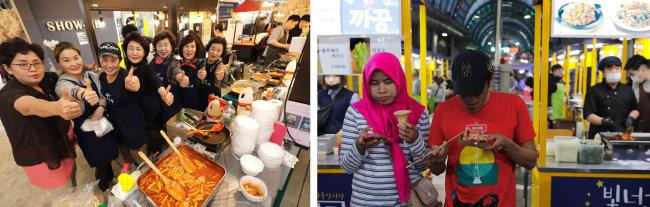 서울 은평구 증산종합시장에서는 동네 부녀회 회원들이 떡볶이를 만들어 판다.(왼쪽) 전국 야시장은 외국인들도 즐겨 찾는다. [박해윤 기자]