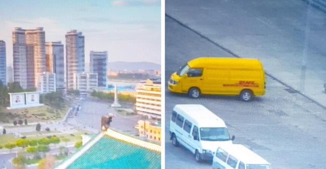영상물 'ENTER PYONGYANG'에 등장하는 평양 시내 고층 빌딩 숲과 그 거리를 달리는 DHL 배송 차량. [이무경 제공]