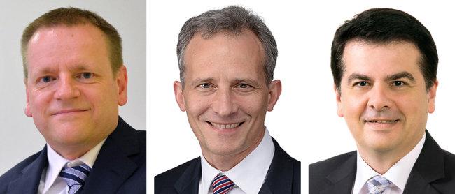 현대모비스가 영입한 칼스텐 바이스 상무, 그레고리 바라토프 상무, 미르코 고에츠 이사(왼쪽부터).