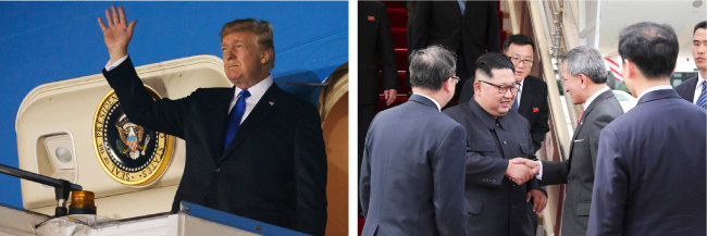 북·미 정상회담을 이틀 앞둔 6월 10일 트럼프 대통령과 김정은 위원장이 싱가포르 파야레바 공군기지와 창이 공항에 각각 도착해 비행기에서 내리고 있다.
