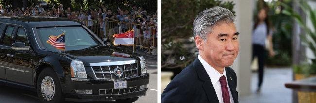 6월 11일 트럼프 대통령 전용 차량이 싱가포르 대통령궁으로 이동하고 있다.(왼쪽) 성 김 주(駐)필리핀 미국대사가 북·미 정상회담을 하루 앞둔 6월 11일 최선희 북한 외무성 부상과 실무 협의를 위해 싱가포르 리츠칼튼 호텔로 들어서고 있다.