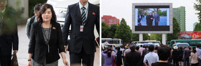 최선희 북한 외무성 부상이 성 김 주(駐)필리핀 미국대사와 실무 협의를 위해 6월 11일 리츠칼튼 호텔로 들어서고 있다.(왼쪽) 6월 12일 평양 시민들이 광장에 설치된 스크린으로 북·미 정상회담을 지켜보고 있다.