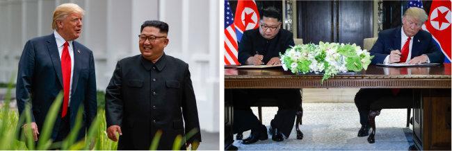 북·미 정상이 6월 12일 오찬 후 카펠라 호텔 경내를 산책하고 있다.(왼쪽) 6월 12일 북·미 정상이 공동성명에 서명하고 있다.