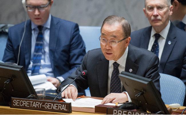 2016년 11월 30일 반기문 유엔 사무총장이 유엔본부 안전보장이사회 회의에서 북한의 5차 핵실험에 대한 제재를 앞두고 연설하고 있다. [유엔 제공]
