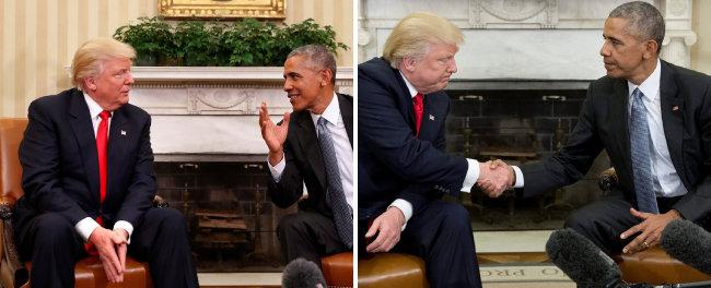 대통령 당선 직후인 2016년 11월 10일, 백악관을 찾아 오바마 당시 미국 대통령을 만난 트럼프 제45대 미국 대통령 당선인. 트럼프는 두 손을 모으고 오바마의 말을 경청했지만(왼쪽 사진), 악수할 때 오바마의 눈을 쳐다보지 않았다. [뉴시스]