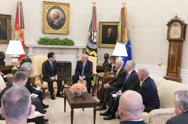 3월 8일 미국 워싱턴 백악관에서 정의용 청와대 국가안보실장이 도널드 트럼프 미국 대통령과 그의 참모들에게 김정은 북한 국방위원장의 메시지를 전달하고 있다. [동아DB]