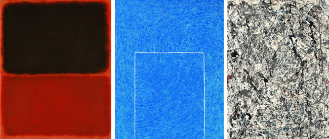 마크 로스코, 김환기, 잭슨 폴록의 작품(왼쪽부터). 이들은 1960년대 뉴욕에서 활동한 동시대 작가들이다.
