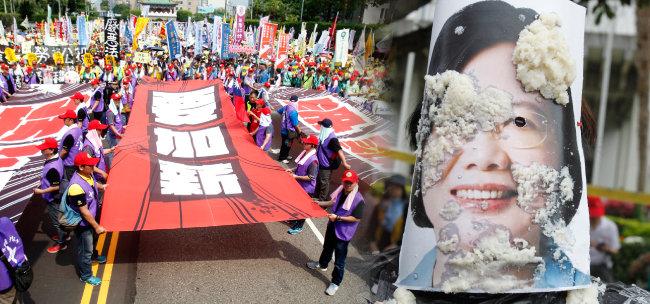 """노동절인 지난 5월 1일 대만 타이베이에서 노동자들이 """"임금 인상"""" """"노동할 권리"""" 등 피켓을 들고 시위에 나섰다(왼쪽). 2017년 노동절 집회에서는 노동자들이 차이잉원 총통의 사진에 두부를 던지는 모습이 목격되기도 했다. [뉴시스]"""