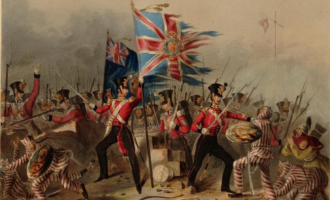 샤먼 전투(Battle of Xiamen)에서 청군을 물리치고 샤먼을 점령하는 영국 육군 제18보병연대.