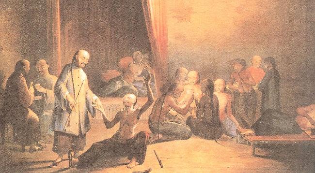18세기 중국에는 아편 중독자가 창궐했다.