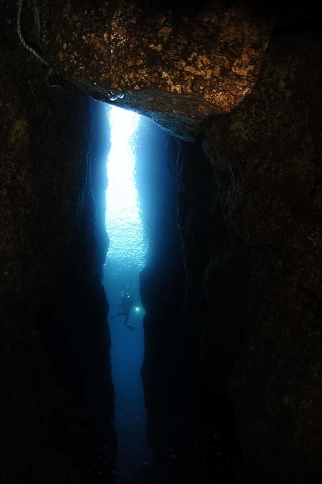 하늘 창. 정혜심이 독도 큰가제바위 북쪽 25m 수심에서 수면까지 뚫고 솟은 직벽을 촬영했다. 국내부 광각(다이버) 부문 금상.
