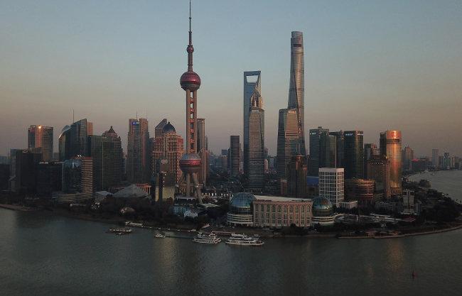 중국 상하이 푸둥 전경.