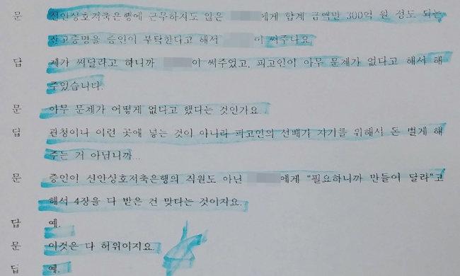 윤석열 지검장 장모 최모 씨의 법정 증언이 담긴 재판기록물.
