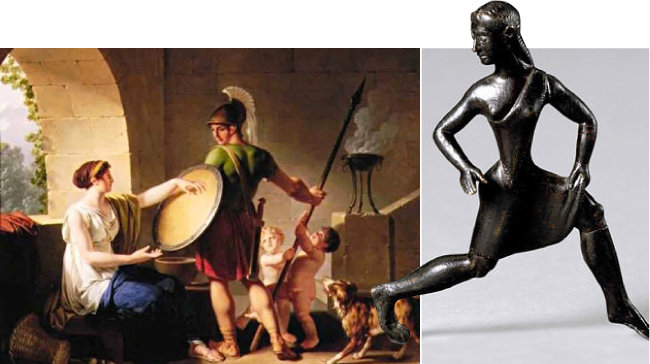 장 자크 프랑수아, 아들에게 방패를 주는 스파르타 여인(왼쪽), 스파르타 여인상. [위키피디아]