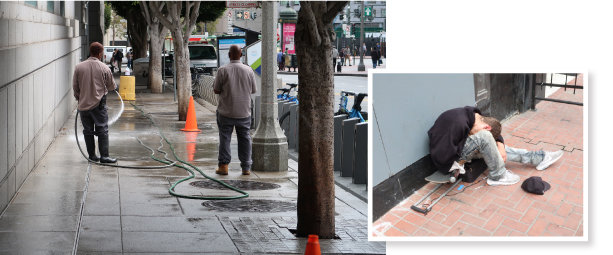샌프란시스코 공립도서관 앞 인도에서 직원들이 길 위의 오물을 치우고자 물청소를 하고 있다(왼쪽). 샌프란시스코 텐더로인 지역으로 진입하는 길 모퉁이에서 대낮에 약에 취한 듯 쓰러져 있는 백인 청년. 청년 옆 길바닥엔 주사기가 놓여 있다.