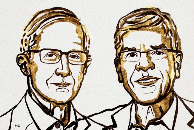 윌리엄 노드하우스(왼쪽), 폴 로머 교수. [©Nobel Media AB 2018]