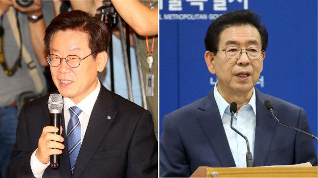 이재명 경기지사(왼쪽)와 박원순 서울시장. [동아DB]