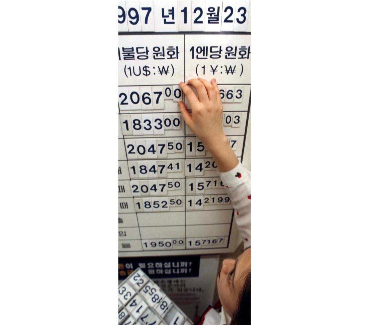 1997년 12월 23일 외환은행 본점에 걸려 있는 환율동향판. [동아DB]